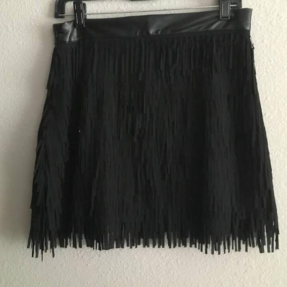 e0a83d517 Ethereal Skirts   Black Faux Leather Fringe Skirt Small   Poshmark